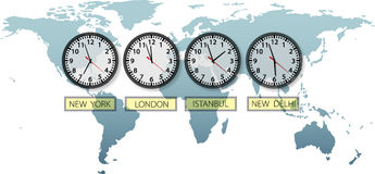 Travel Earth city time clocks on world map royalty free illustration
