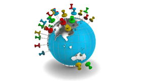 Travel the Earth. 3d animation of pins popping up on the Earth globe stock video footage