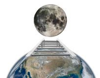 Travel from Earth to Moon with ladder concept Royalty Free Stock Image