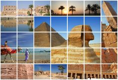 Travel in Egypt. Fabulous and sunny Egypt in collage with 8 shots Stock Image