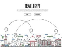 Travel Egypt poster in linear style. Travel Egypt poster with national architectural attractions and air route symbols in trendy linear style. Egyptian famous Stock Images