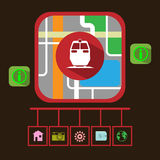 Travel by Electric Train GPS Navigation Map Royalty Free Stock Photos