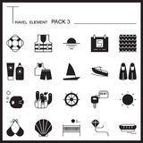 Travel Element Graph Icon Set 3.Beach and Sea thin icons.Mono pa Royalty Free Stock Images