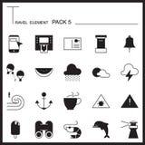 Travel Element Graph Icon Set 5.Beach and Sea thin icons.Mono pa Royalty Free Stock Photo