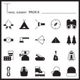 Travel Element Graph Icon Set 6.Camping thin icons.Mono pack.Gra Royalty Free Stock Photos