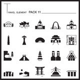 Travel Element Graph Icon Set 11.Landmark thin icons.Mono pack.G. Raphic logo set.Pictogram design stock illustration