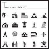 Travel Element Graph Icon Set 10.Landmark thin icons.Mono pack.G Royalty Free Stock Photos