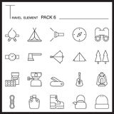 Travel Element Line Icon Set 6.Camping thin icons.Mono pack.Grap Stock Photography
