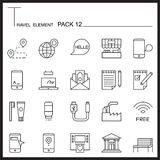 Travel Element Line Icon Set 12.City and urban thin icons.Mono p. Ack.Graphic  logo set.Pictogram design Royalty Free Stock Photo