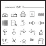 Travel Element Line Icon Set 13.Country thin icons.Mono pack.Gra Stock Photos