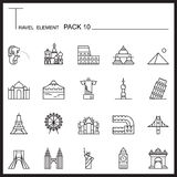 Travel Element Line Icon Set 10.Landmark thin icons.Mono pack.Gr Stock Photo