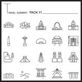Travel Element Line Icon Set 11.Landmark thin icons.Mono pack.Gr. Aphic logo set.Pictogram design stock illustration