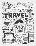 Travel elements doodles hand drawn line icon,eps10 Royalty Free Stock Photo