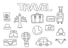 Travel elements hand drawn set. Coloring book template.  Outline doodle Stock Photography