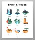 Travel elements flat pack royalty free illustration