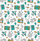Travel elements seamless icons pattern Royalty Free Stock Images