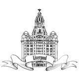 Travel England sign. Liverpool Liver Building, UK, Great Britan. Stock Images