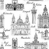 Travel  England UK famous cities landmark with handmade calligra Royalty Free Stock Photography