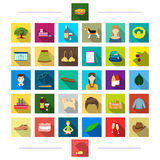 Travel, entertainment, decorations and other web icon in flat style., business, animals, production, icons in set Royalty Free Stock Images