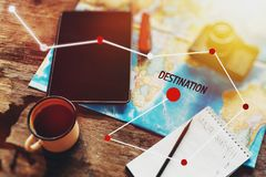 Travel Equipment Hiking Destination Destination Plan, Map, Film Camera And Digital Tablet. Royalty Free Stock Photography