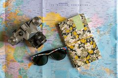 Travel essentials flat lay concept. Flat lay, creative layout of travel, trip, journey or vacation essentials or equipment, tips Royalty Free Stock Photo