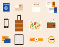 Travel Essential Elements. Important travel documents and other accessories that must be taken before traveling Royalty Free Stock Images