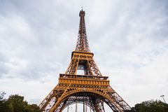 Travel Europe Landmarks in France. Travel through Europe. Eiffel Tower against the sky in Paris. Attractions in France Stock Photo