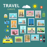 Travel Europe England Italy France Austria Ukraine flat vector Stock Images