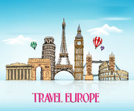 Travel Europe Hand Drawing with Famous Landmarks Royalty Free Stock Image