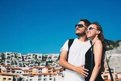 Travel Europe. Happy couple in Portopiccolo Sistiana, Italy. Royalty Free Stock Photography