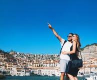 Travel Europe. Happy couple in Portopiccolo Sistiana, Italy. Royalty Free Stock Images