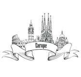 Travel Europe label. Famous buildings and landmarks. Eouropean c Royalty Free Stock Photography