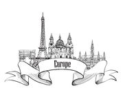 Travel Europe label. Famous buildings and landmarks. European ca Stock Photo