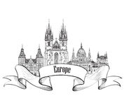Travel Europe label. Famous buildings and landmarks. European ca Royalty Free Stock Image