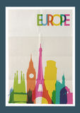 Travel Europe landmarks skyline vintage poster Stock Image