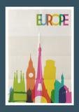 Travel Europe landmarks skyline vintage poster Stock Image