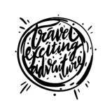 Travel exiciting adventure hand drawn vector lettering royalty free illustration