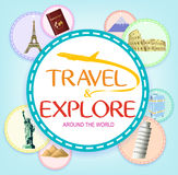 Travel and Explore Around the World in Circles Stock Images