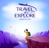 Travel and Explore Around The World with Man Traveler Sitting on The Cliff Royalty Free Stock Image