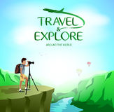Travel and Explore Around The World with Man Traveler Taking Picture on The Cliff Stock Photography