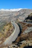 Travel exploring concept - curvy road in the high Albanian Alps. Tamara, Albania Stock Photo