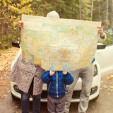 Travel - family with camping car on the road royalty free stock image