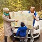 Travel - family with camping car on the road Royalty Free Stock Photos