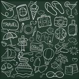Travel Family and Friends Tourism Traditional Doodle Icons Sketch Hand Made Design Vector royalty free illustration