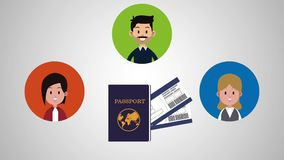 Travel with family HD animation royalty free illustration