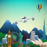 The travel of Famous monuments of the world. Symbol Royalty Free Stock Image