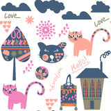 Travel fantasy colorful seamless pattern. It is located in swatch menu, . Cute colorful background. Stock Photos