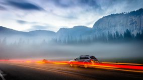 Free Travel Fast. The Car Travel Through The Country. Royalty Free Stock Images - 114384209