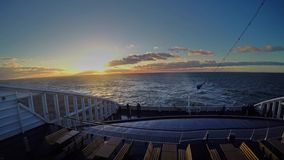 Travel by ferry in the Baltic Sea at sunrise stock video
