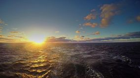 Travel by ferry in the Baltic Sea at sunrise stock video footage